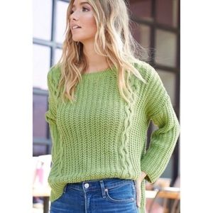 Chunky Cable Knit Pullover Sweater, Apple Green